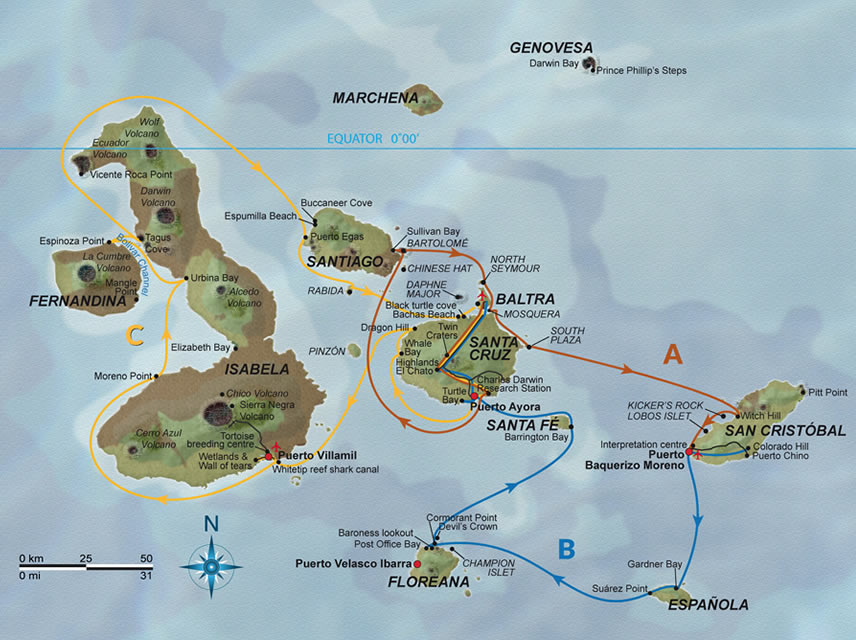 Karte Reiseroute Treasure of Galapagos